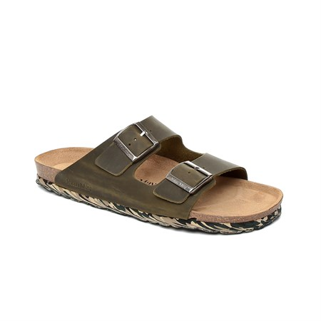 HAKİ Erkek Terlik GA-JM-17133 JOHN MAY HAWAII - OIL LEATHER CAMUFLAGE KAKI