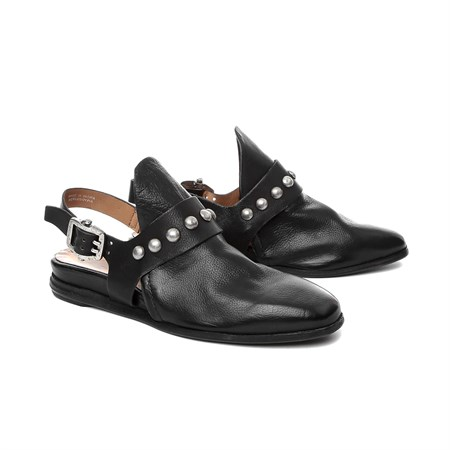 SİYAH Kadın Sandalet 856101-201 AS 98 SCARPE DONNA LEATHER SHOES NERO