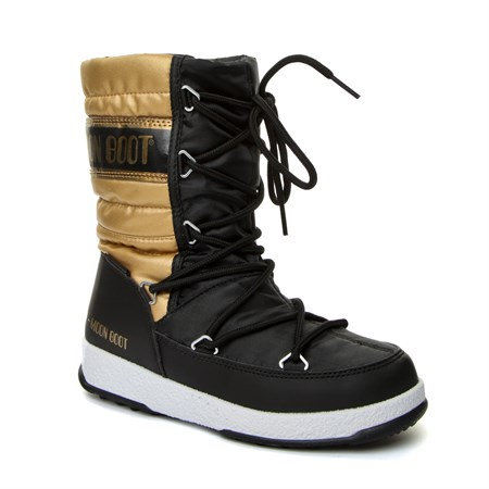SİYAH Kız Çocuk Kar Botu 34051400-001 MOON BOOT WE QUILTED JR MET WP BLACK-GOLD